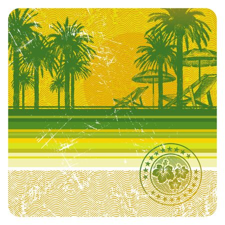 Abstract vector tropical beach with palms, chair and umbrella Stock Vector - 9902918