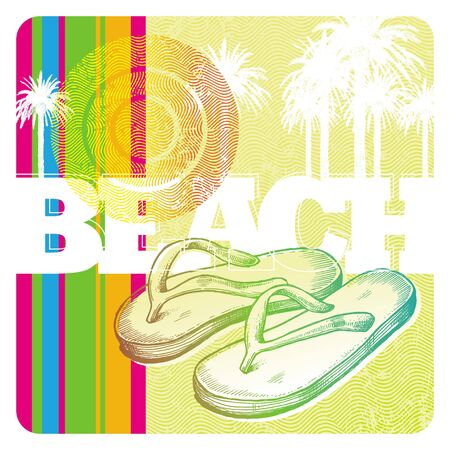 beach wear: Abstract vector tropics and hand drawn slippers
