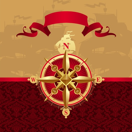 compass rose: Vector ancient golden compass rose
