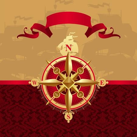 nautical compass: Vector ancient golden compass rose