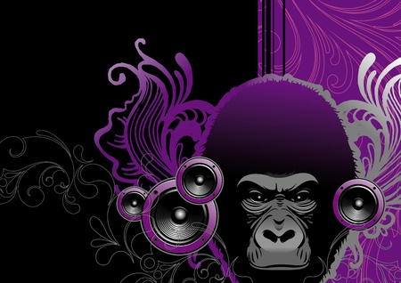abstract gorilla: Abstract vector musical illustration - gorilla head & loudspeakers Illustration