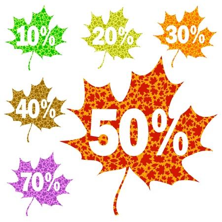 hojas de maple: Vector hojas de arce - venta estacional de oto�o
