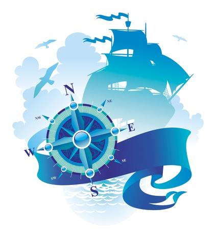 rosa dei venti: Avventure & illustrazione vettoriale viaggio