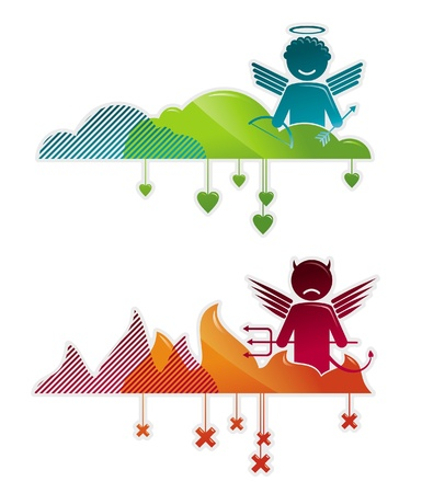 heaven and hell: Angel on heaven & devil in hell - concepts vector illustration