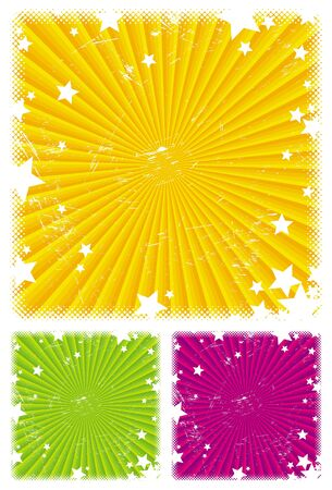 Vector abstract background with rays & stars Vector