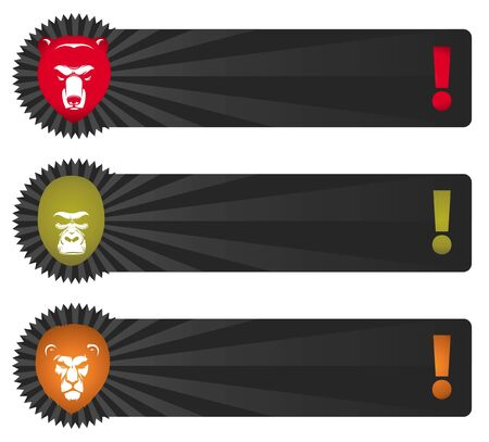 grizzly: Banery wektorowe z głowy zwierząt - niedźwiedzia, goryl, lew