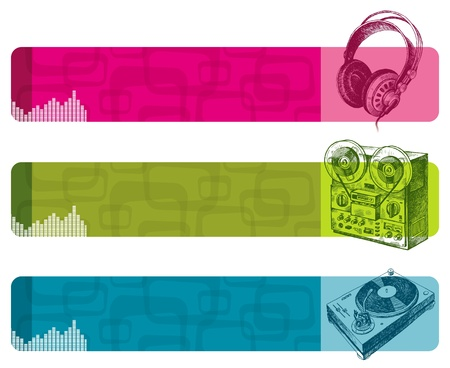 surround: Vector retro banners with hand drawn musical equipment