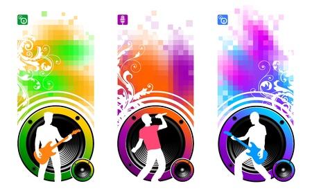 s�ngerin: Abstract vector Banner mit Lautsprechern & Silhouetten der Musiker
