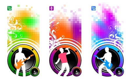 mic: Abstract vector banners with loudspeakers & silhouettes of musicians
