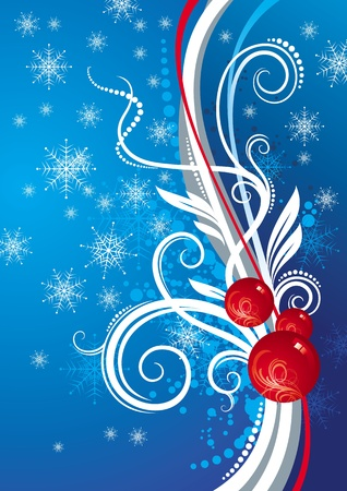 new year scroll: Blue vector ornate background with Christmas baubles