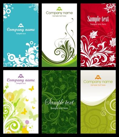 carta identit�: Vector set di sei carte di business verticale ornato e disegno Vettoriali