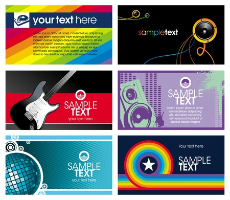 Vector set of six horizontal musical business cards Vector
