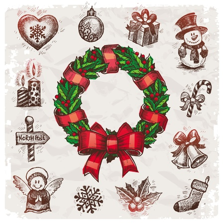 Christmas and New years holidays vector hand drawn illustration Vector