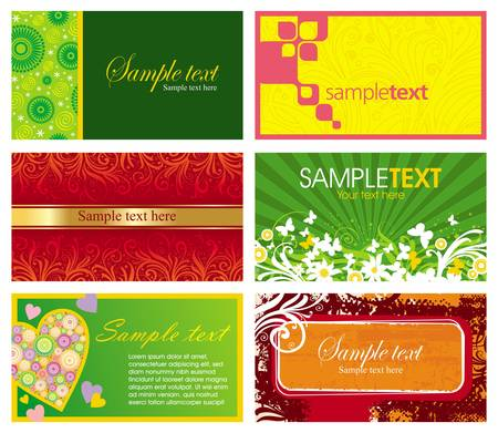 Vector set of six horizontal ornate business cards Stock Vector - 9903008