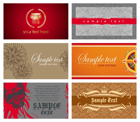 Vector set of six horizontal ornate business cards Vector