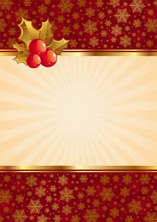 Christmas vector background with holly berries Stock Vector - 9903023