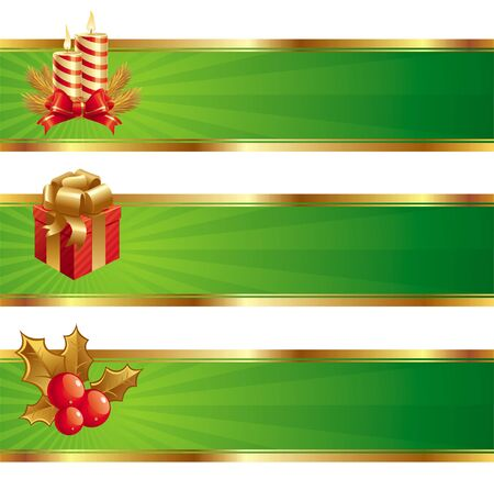 vector banners: Christmas vector banners with holidays symbols