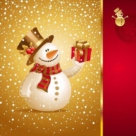bonhomme de neige: Carte de No�l de vecteur - souriant Bonhomme de neige avec Don