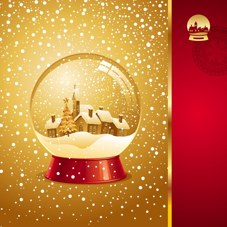 Vector Christmas card with snow globe Vector