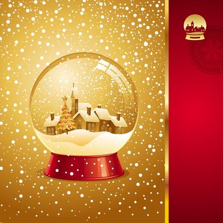 Vector Christmas card with snow globe Stock Vector - 9902968