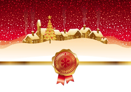 Vector Christmas card with winter night landscape and small town Vector