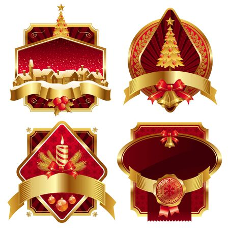 Christmas golden vector ornate frames with holyday symbols Vector