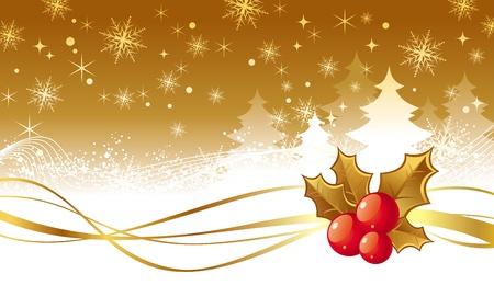 frutos rojos: Navidad ilustraci�n vectorial con bayas de acebo Vectores