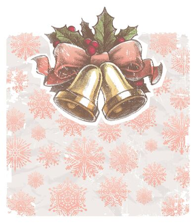 ilex: Christmas vector holidays illustration with hand bells Illustration
