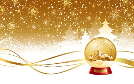 gold house: Christmas winter landscape and snow globe - vector illustration Illustration