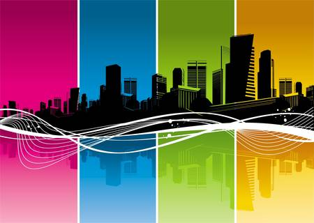 city abstract: Vector silhouette of Cityscape, color strips & waves Illustration