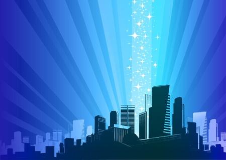 현상: Vector illustration - Cityscape & magic phenomenon 일러스트