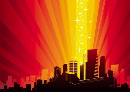 phenomenon: Vector illustration - Cityscape & magic phenomenon Illustration