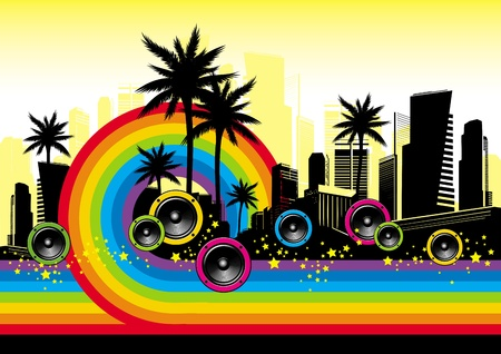 sub woofer: Vector illustration - Cityscape with palms, loudspeakers & rainbow