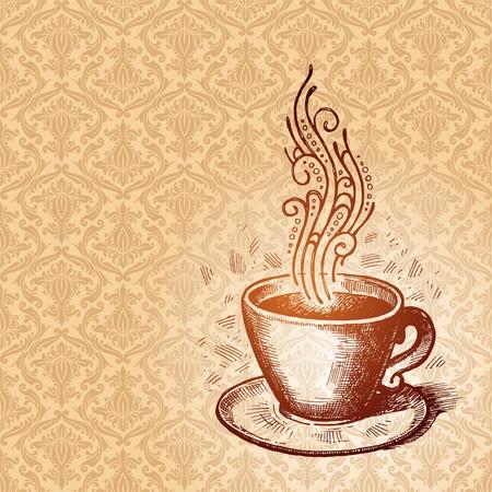 コーヒーカップ: ベクターの手のダマスク織のシームレスなパターンの背景に描かれたコーヒー カップ