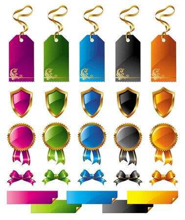 a collection of awards icon: Vector set of color signs and labels