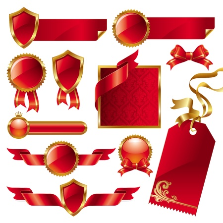 promotion icon: Vector set of golden-red signs and labels Illustration