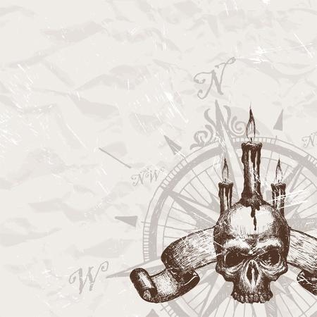 compas de dibujo: Vector br�jula Rosa y cr�neo dibujado de la mano de pirater�a