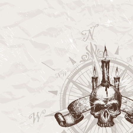 compass rose: Vector compass rose and piracy hand drawn skull Illustration