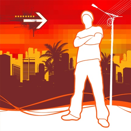 cool people: Vector illustration with silhouette of urban young man Illustration
