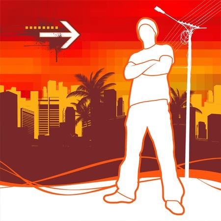Vektor-Illustration mit Silhouette des städtischen junger Mann Vektorgrafik