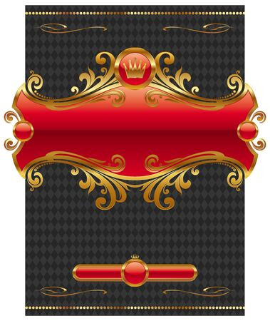 Vector design with ornate golden frame Vector