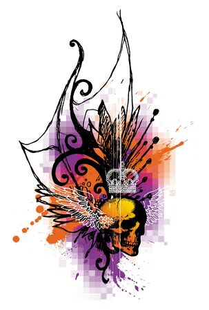 skull and crown: Abstract vector illustration with hand drawn elements & winged skull