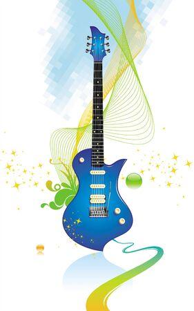 resonancia: Guitarra electro - ilustraci�n vectorial