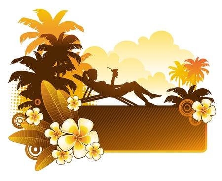clima tropical: Ilustración vectorial - silueta de una niña en un paisaje tropical con flores de frangipani Vectores