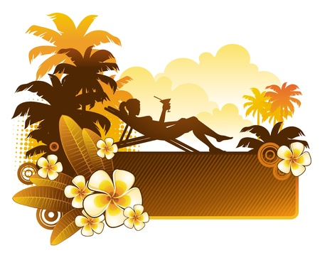 tropics: Vector illustration - silhouette of a girl on a tropical landscape with flowers of frangipani
