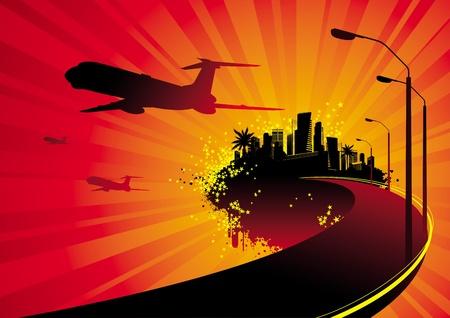メトロポリス: 飛行機の島 - シルエット ベクトル イラストレーション上の都市から出発  イラスト・ベクター素材