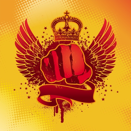 fist: Heraldic grunge vector winged emblem with fist Illustration