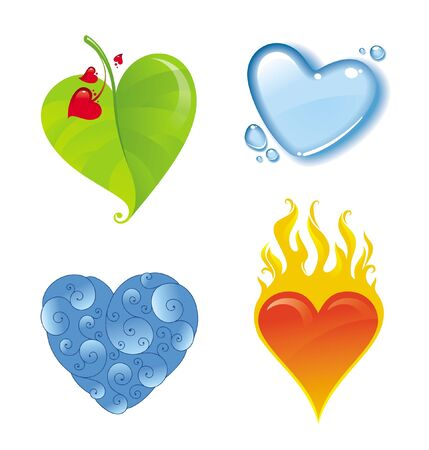 Four vector different valentines heart Stock Vector - 9902938