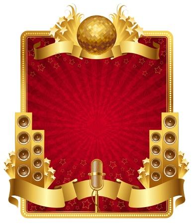 fiestas discoteca: Marco ornamentado de vector con oro objetos musicales
