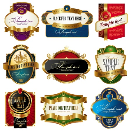 Vector set of golden ornate labels Vector